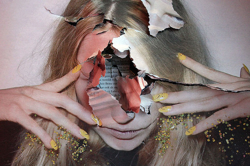 blonde-collage-blogosphère-cutout-glitter-headache