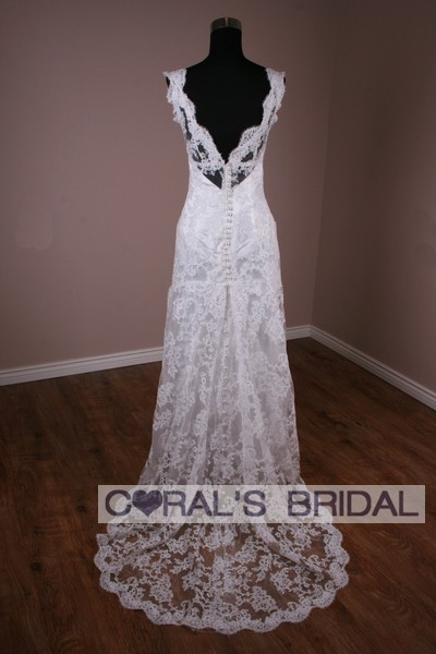 MS156 f MS156 f Replica of Monique Lhuillier Claire lace wedding gown