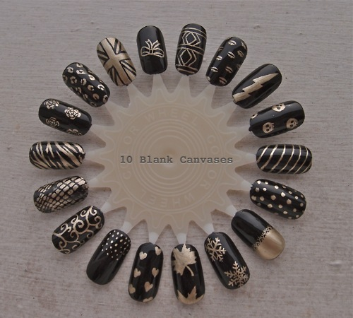 Nail Art Black & Gold