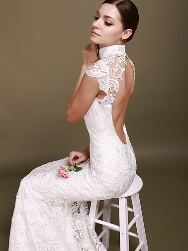 Lace Mini Sleeves Backless MermaidStyle Chapel Train Wedding Dresses