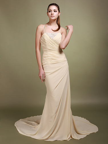 Beaded Lace Mermaid Style Backless Chapel Train Wedding Dresses 2012