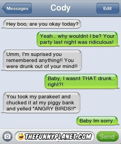 Funny Texts Drunk People