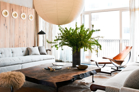 Mid Century Modern Rustic Living Room brad ford / kips bay decorator show house / nick johnson / wall