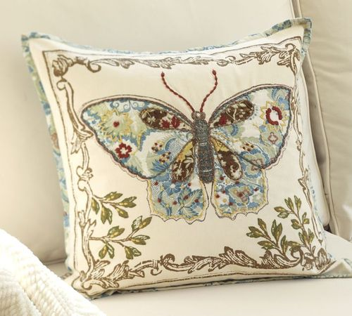 Pottery Barn Decorative Pillow Covers : POTTERY BARN ANNA MARIE BUTTERFLY APPLIQUE 20