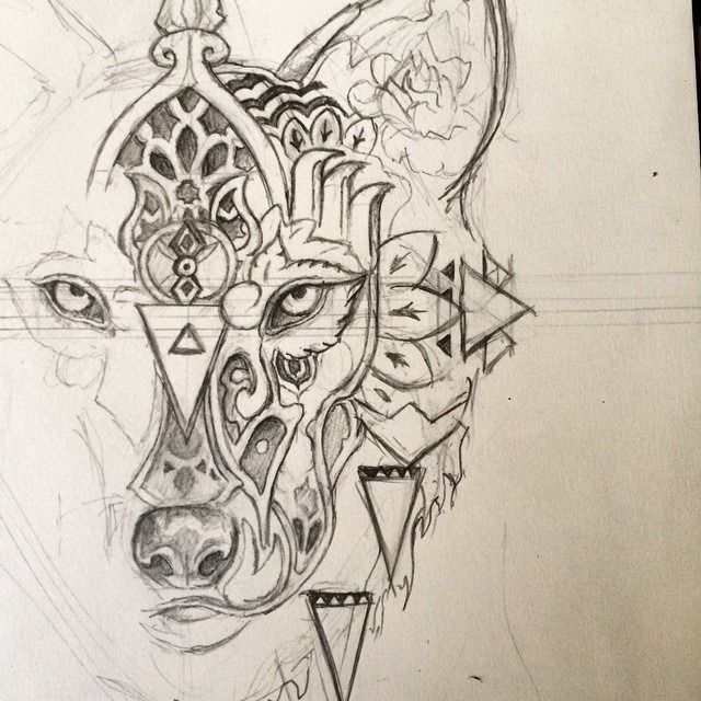 Wolf Line Drawing Tattoo : Geometric wolf tattoos stunning line by