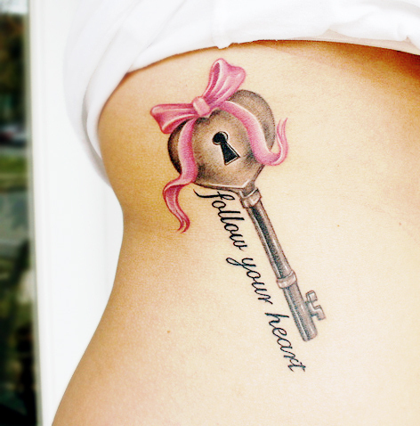 Tattoo Designs on Follow Your Heart Heart Key Ribbon Tattoo Inspiring Picture On Favim