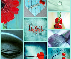 collage heart mint red