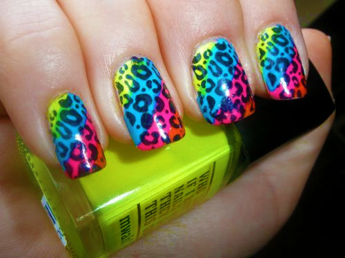 finger, leopard, nailpolish, nails, neon - inspiring picture on Favim.com