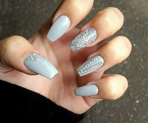 coffin nails grey sparkly