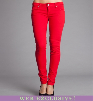 Images of Red Skinny Jeans For Women - Reikian