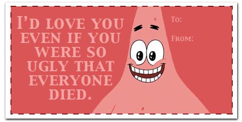 BadtvBlog Patrick Star Valentines Day Card on We Heart It – Spongebob Valentines Day Card