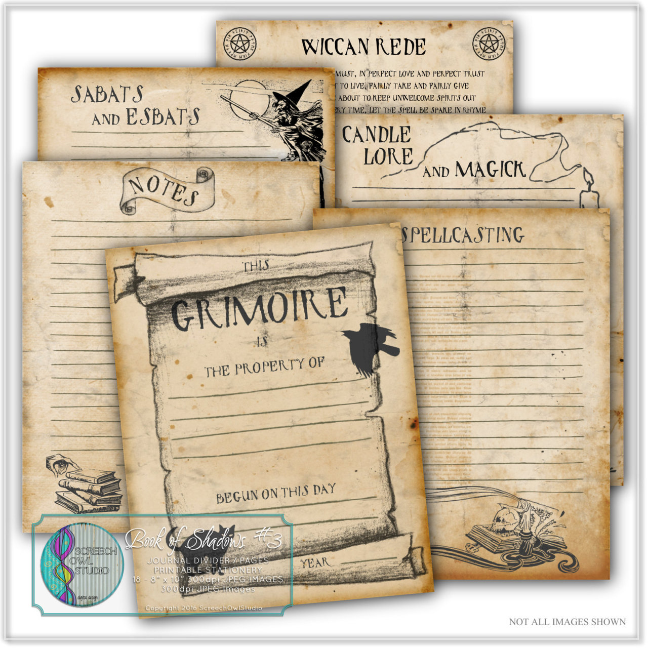 This is a picture of Insane Free Printable Grimoire Pages