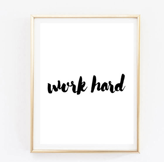 Work Hard Handwritten Inspirational Tumblr Quote