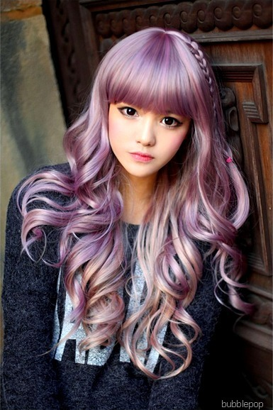cute, hair, purple, ulzzang - inspiring picture on Favim.com