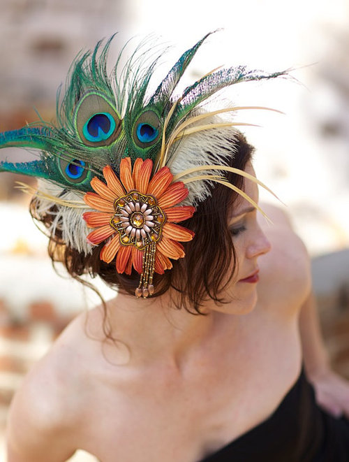 Feather Headdress with Orange Cream and Peacock by LaCocoRouge