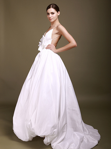 on the Bodice Backless Ball Gown Style Floor Length Wedding Dresses 2012