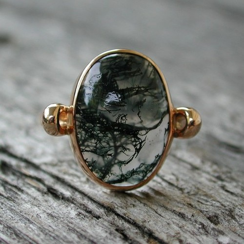 I'd Wear That / Mystical moss agate ring 14k rose pink gold jewelry by sarantos