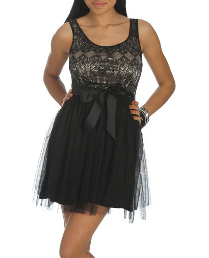 Lace Mesh Belted Dress - Teen Clothing by Wet Seal
