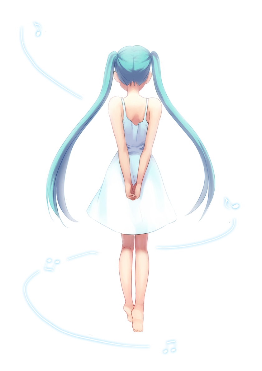 1girl aqua hair arms behind back barefoot from behind
