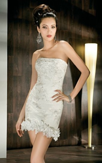 Mini Length Strapless Beaded Satin Wedding Dress UD7083 Udreamybridal