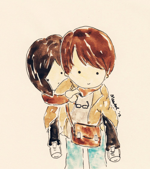 cute little couple drawing | We Heart It | cute, couple ...