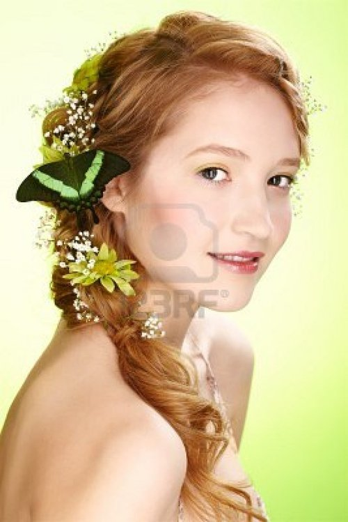 Portrait Of Beautiful Healthy Redhead Teen Girl With Flowers.. Royalty Free ...