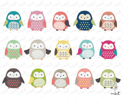 Cute Owl Clip art 15 Digital Clipart Set for by memomint on Etsy   We    Cute Owl Clip Art