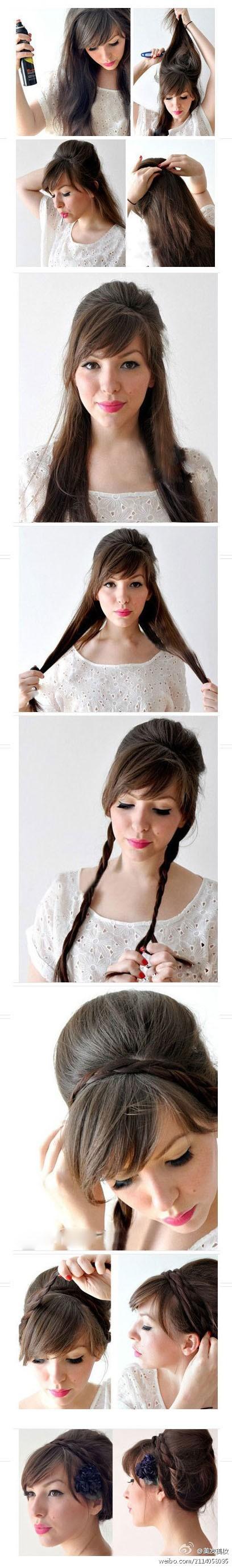 прически для средних волос с челкой в домашних условиях фото
