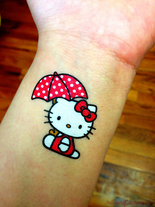 The Science of Cute // Hello Kitty + Umbrella Temp. Tattoo