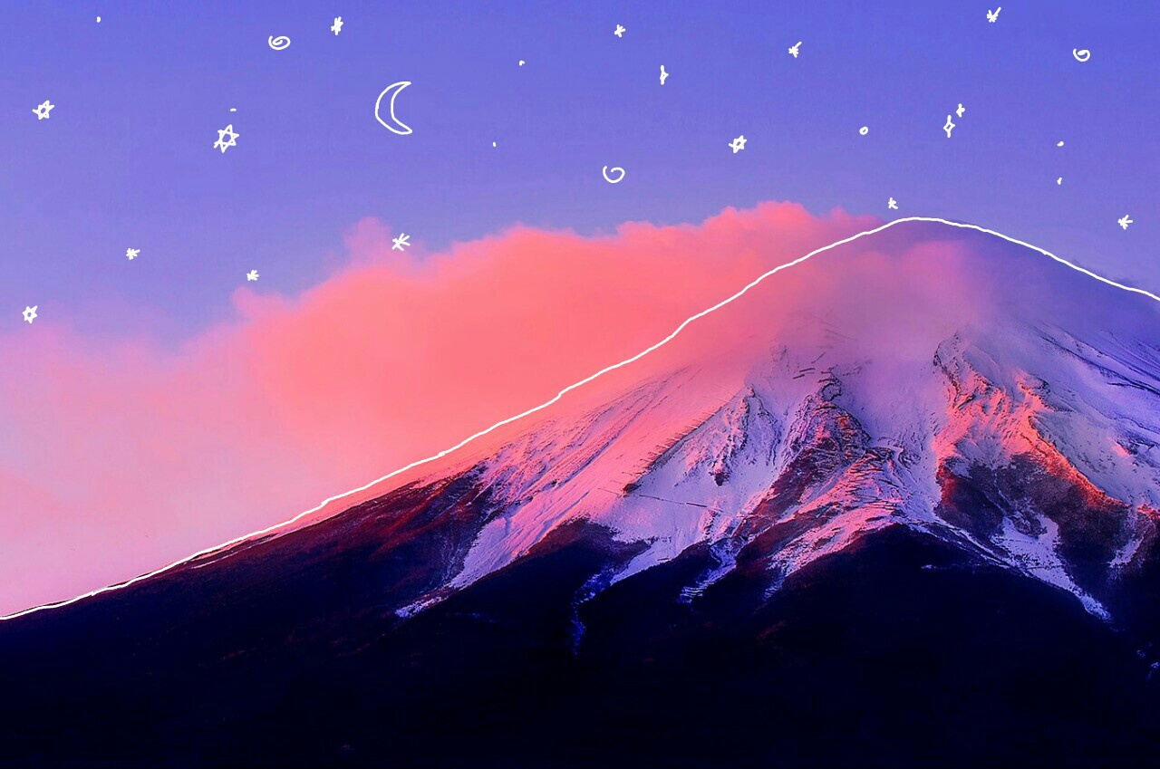 Pretty Mountain with Stars and the Moon by $isyourGOD | WHI