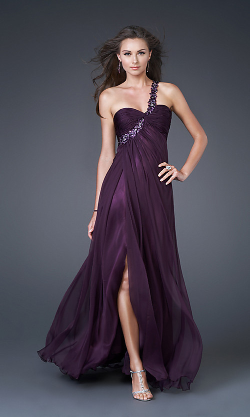 Purple One-Shoulder Sweetheart Chiffon Prom Dress [#UD4071] - Udreamybridal.com