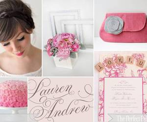 grey wedding pink