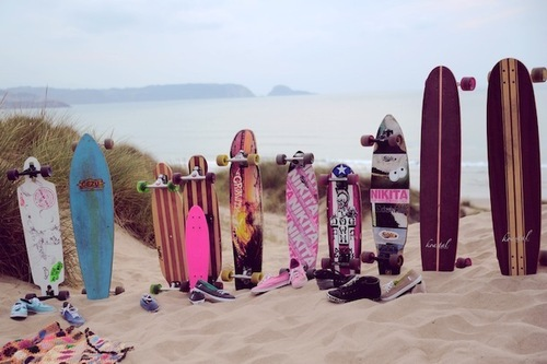 beach, girls , longboard, longskate, skate - inspiring picture on Favim.com