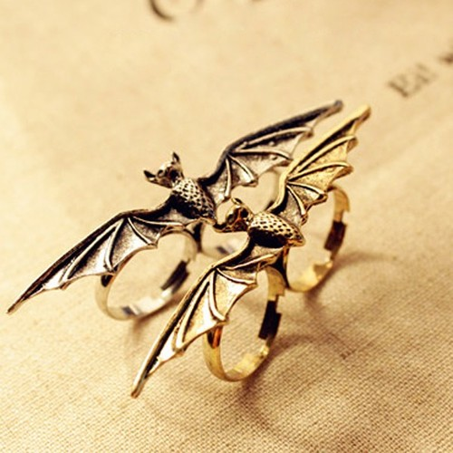 1 64 1 large Vintage Adjustable Bat Double Ring at Online Vintage Jewelry Store Gofavor