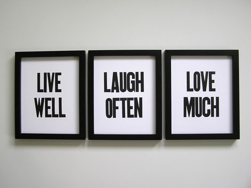 Simple Letterpress Prints Live Well Laugh Often by happydeliveries