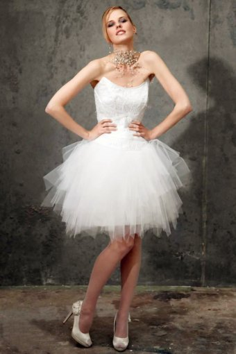 Mini Length Strapless Satin Lace Tulle Wedding Dress UD4877