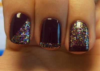Nail Candy / black and glitter nails