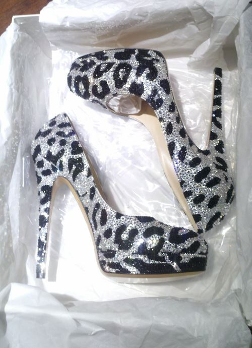 black, glitter, high heels, leopard, love - inspiring picture on Favim.com