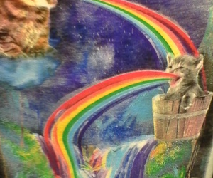 rainbows puke vomit cats
