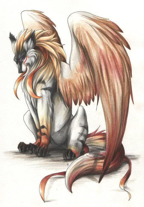 Fire tiger wolves with wings 💖 | We Heart It | wolf Anime Fire Wolves With Wings