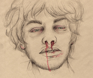 male drawing bloodynose