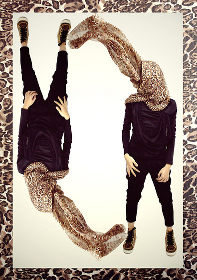 "2063352 1000 leopard large Diy Leopard Print Scarf, Braided Longsleeve, Leopard Shoes, Space Pants //""My Imaginary Twin: We Are Inversely Proportional "" by Prince Klinton T. // LOOKBOOK.nu"