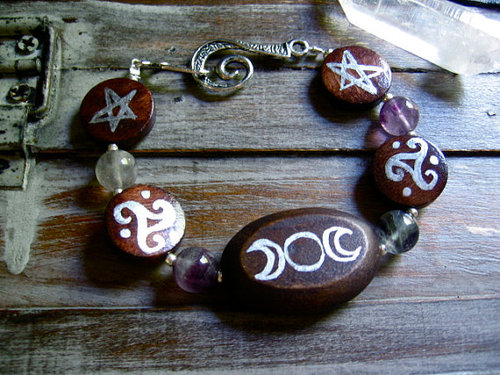 Magical Symbols Goddess Bracelet by EireCrescent on Etsy