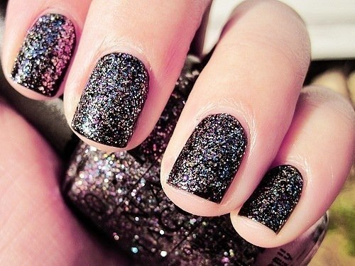 black, design, glitter, nail art, nail polish - inspiring picture on Favim.com