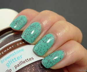 glittery teal nails