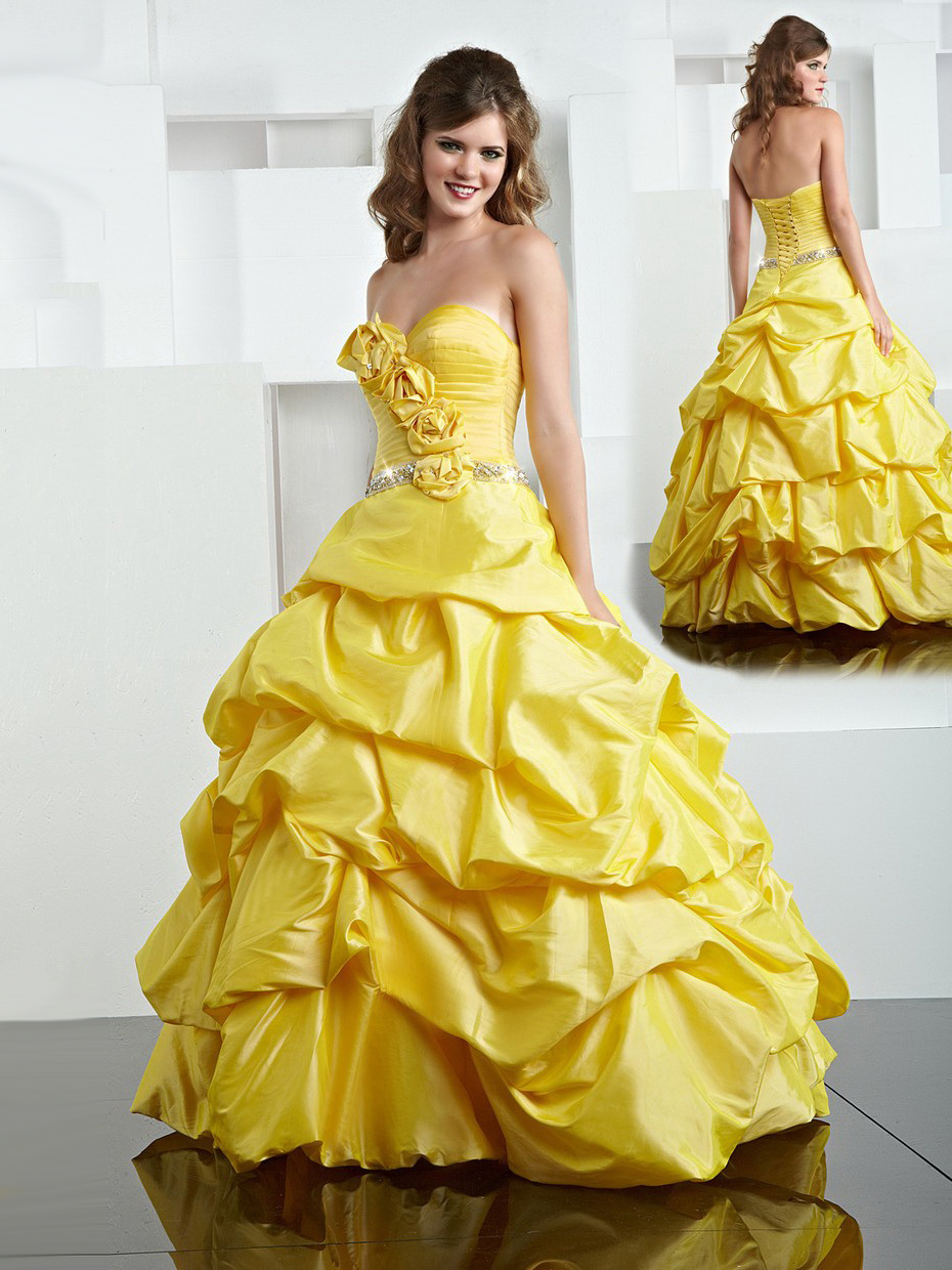 Eye catching yellow ball gown sweetheart hand made flower for Yellow dresses for weddings