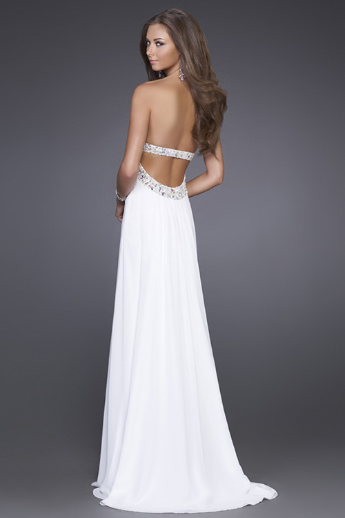 White Strapless Formal Dress - RP Dress