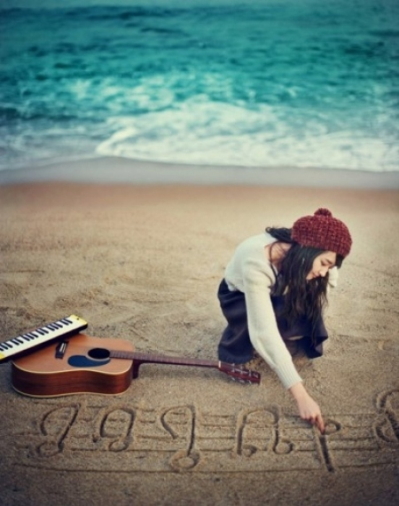 Beach,Beanie,Guitar,Music,Ocean - inspiring picture on PicShip.com