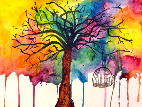 art, paint, tree - inspiring picture on Favim.com