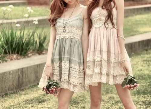 Best friends,Dress,Flowers,Girls,Summer - inspiring picture on PicShip.com